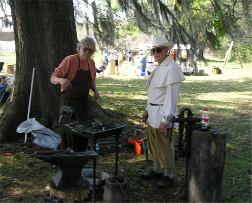 Blacksmith Mo gave lessons in blacksmithing
