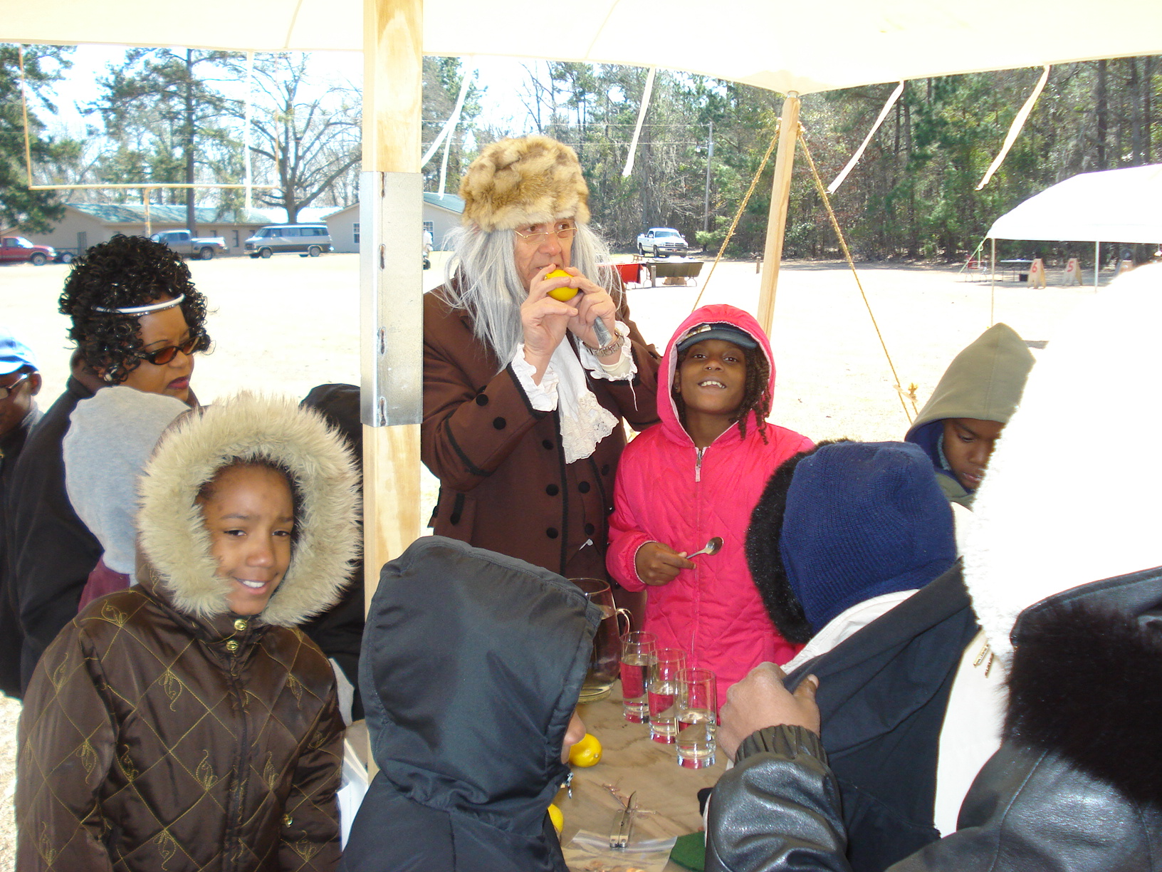 Encampment students with Ben Franklin