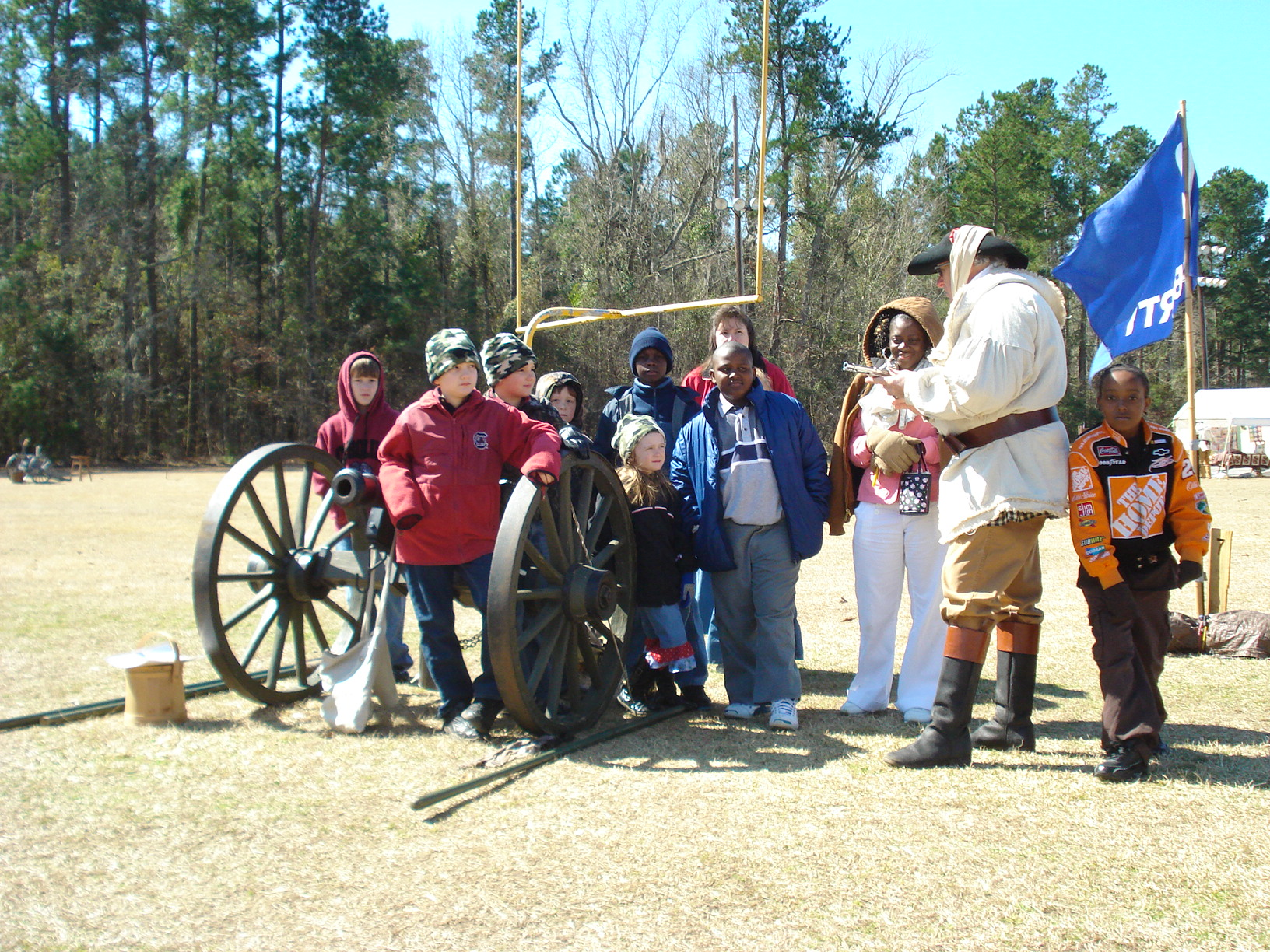 Encampment Cannon Drill with students and George