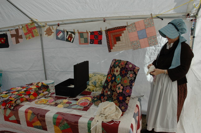 Quilt lady awaits the student sewers